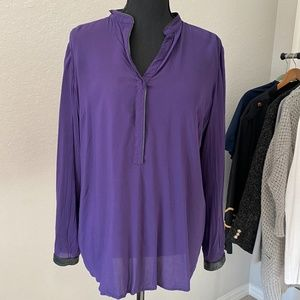 Loft Purple Top with Faux Leather Tr…